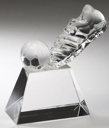 5-1/2 Inch Optical Crystal Soccer Shoe and Ball on Base Award