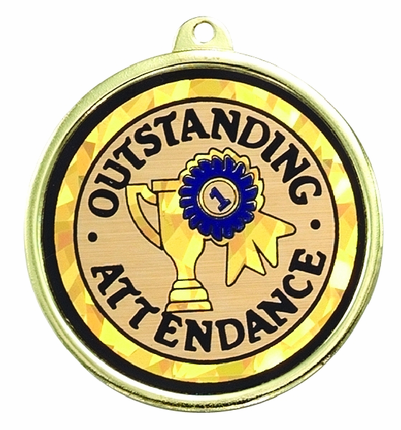 "2-1/4 Inch Medal Frame with 2 Inch ""Oustanding Attendance""  with Tropy Ribbon Mylar Insert Label"