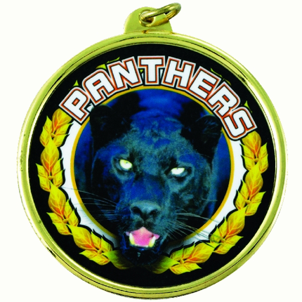"2-1/4 Inch Medal Frame with 2 Inch ""Panthers"" Mascot Mylar Insert Label"