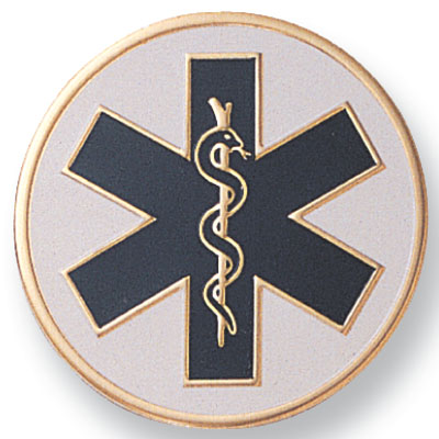 7/8 Inch Etched Enameled Paramedic Insignia Medallion Insert Disc