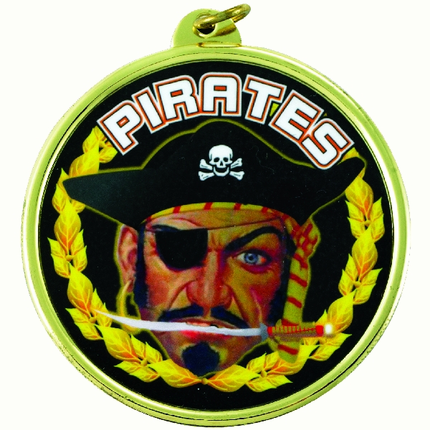 """2-1/4 Inch Medal Frame with 2 Inch """"Pirates"""" Mascot Mylar Insert Label"""