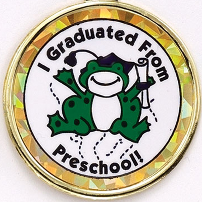 "2 Inch Reflective  ""Graduated From Pre-School""  with Graduation Frog Mylar Insert Label"