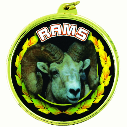 "2-1/4 Inch Medal Frame with 2 Inch ""Rams"" Mascot Mylar Insert Label"