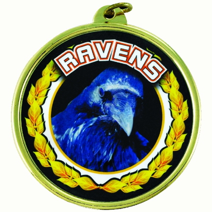 "2-1/4 Inch Medal Frame with 2 Inch ""Ravens"" Mascot Mylar Insert Label"