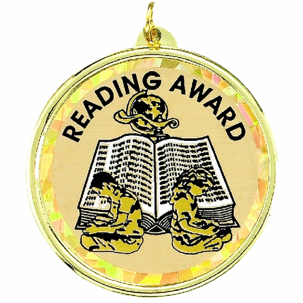 "2-1/4 Inch Medal Frame with 2 Inch ""Reading Award"" with Boy and Girl Mylar Insert Label"
