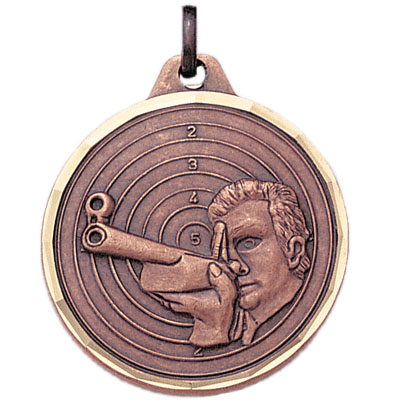 1-1/4 Inch Diamond Cut Border Male Rifle Shooter and Target Medal