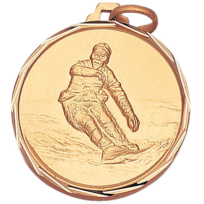 1-1/4 Inch Diamond Cut Border Snowboarder Medal