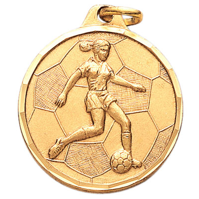 1-1/4 Inch Diamond Cut Border Female Soccer Player Medal