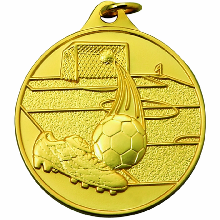 1-1/2 Inch Scalloped Border Soccerball, Field, Goal, and Cleats Medal