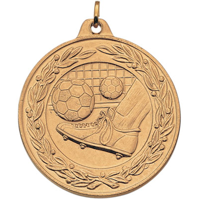 2 Inch Scalloped and Wreath Border Soccer Goal Kick Medal
