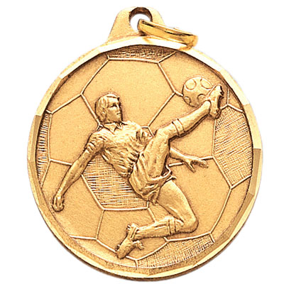 1-1/4 Inch Diamond Cut Border Male Soccer Player Medal