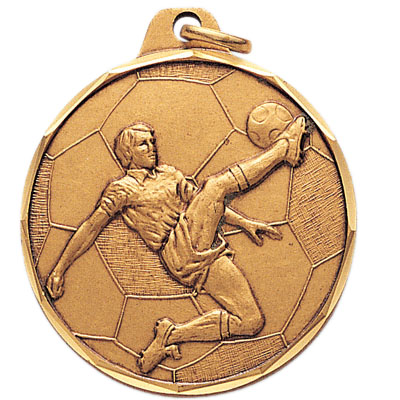 1-1/2 Inch Diamond Cut Border Male Soccer Player Medal