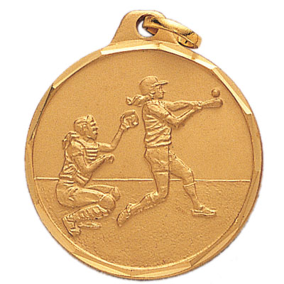 1-1/4 Inch Diamond Cut Border Female Batter and Catcher Medal