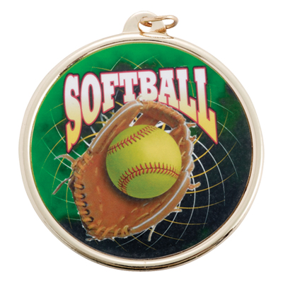 2-1/4 Inch Medal Frame with 2 Inch Softball Mylar Insert Label