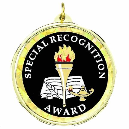 "2-1/4 Inch Medal Frame with 2 Inch ""Special Recognition Award"" with Torch Mylar Insert Label"