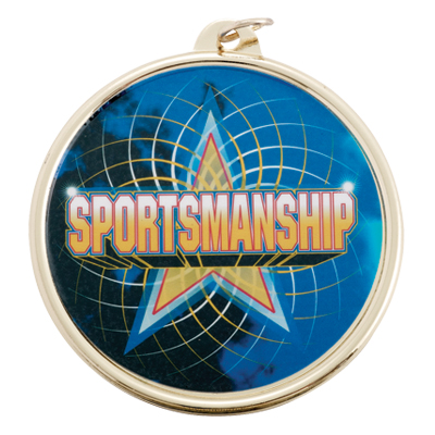 """2-1/4 Inch Medal Frame with 2 Inch """"Sportsmanship"""" with Star Mylar Insert Label"""