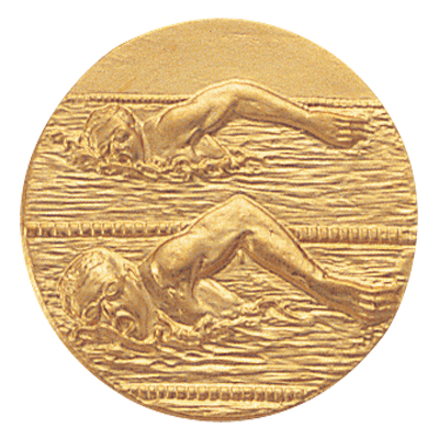 """1 Inch Stamped Male  """"Free Style Stroke"""" Swimmers Medallion Insert Disc"""