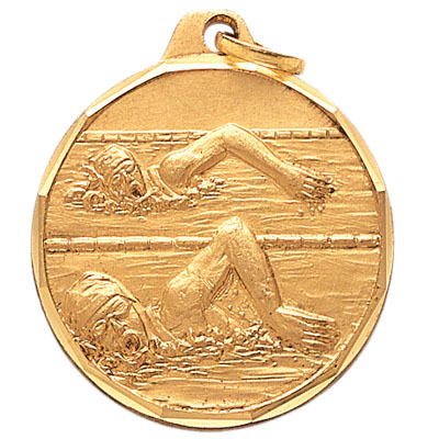 1-1/4 Inch Diamond Cut Border Female Freesytle Swimmer Medal