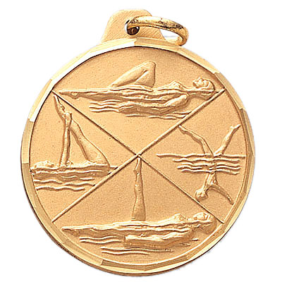 1-1/4 Inch Diamond Cut Border Syncronized Female Swimmers Medal