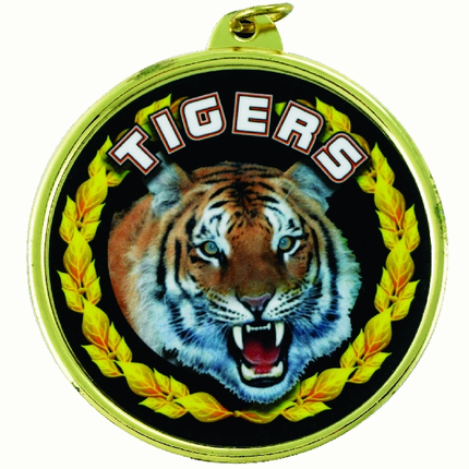 """2-1/4 Inch Medal Frame with 2 Inch """"Tigers"""" Mascot Mylar Insert Label"""