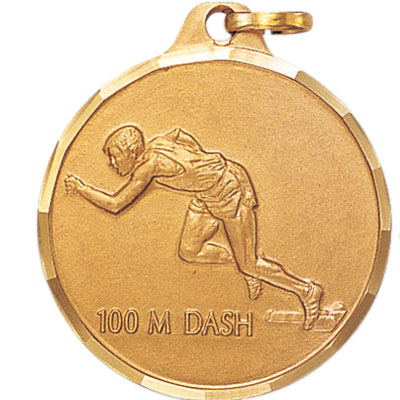 1-1/4 Inch Diamond Cut Border Male 100 Meter Dash Track Runner Medal