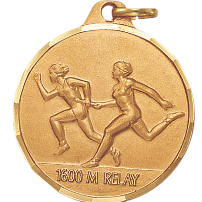 1-1/4 Inch Diamond Cut Border Female 1600 Meter Relay Track Runner Medal