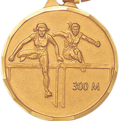 1-1/4 Inch Diamond Cut Border Female 300 Meter Track Hurdler Medal