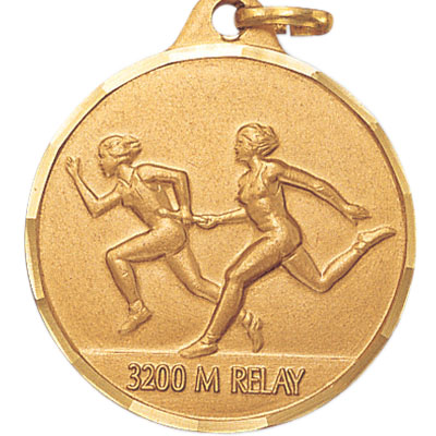 1-1/4 Inch Diamond Cut Border Female 3200 Meter Relay Track Runner Medal