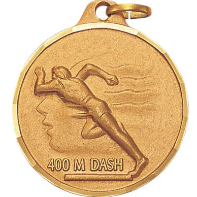 1-1/4 Inch Diamond Cut Border Female 400 Meter Dash Track Runner Medal