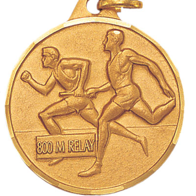 1-1/4 Inch Diamond Cut Border Male 800 Meter Relay Track Runner Medal