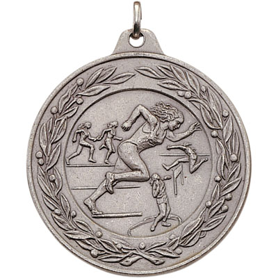 2 Inch Scalloped and Wreath Border Female Track and Field Competitor Medal
