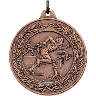 2 Inch Scalloped and Wreath Border Male Track and Field Competitor Medal