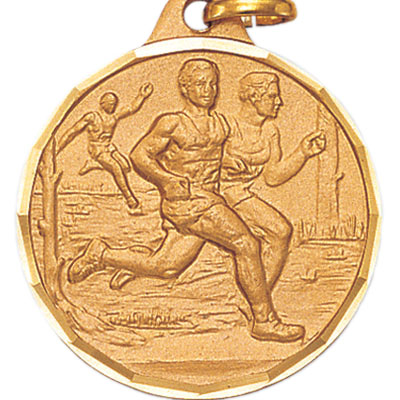 1-1/4 Inch Diamond Cut Border Cross Country Male Runners Medal