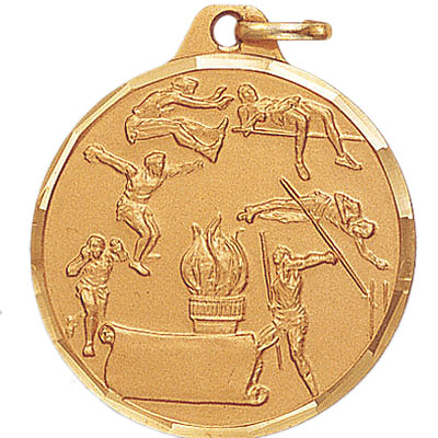 1-1/4 Inch Diamond Cut Border Male Track and Field Events with Bottom Scroll Medal