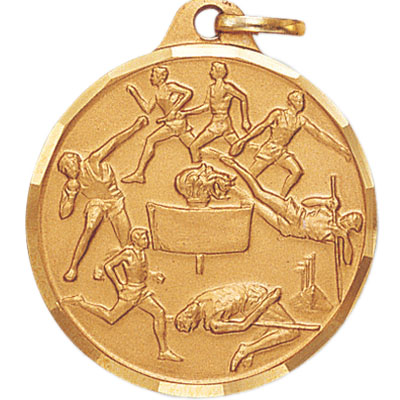 1-1/4 Inch Diamond Cut Border Male Track and Field Events with Center Scroll Medal