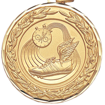 2 Inch Diamond Cut and Wreath Border Track, Stopwatch, and Winged Cleats Medal