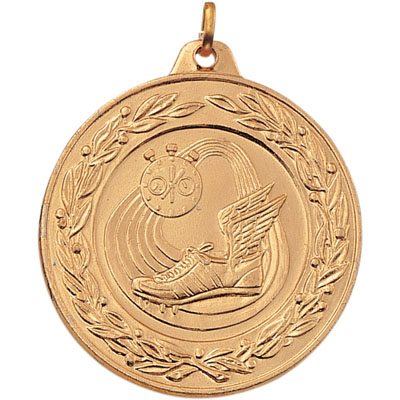 2 Inch Scalloped and Wreath Border Track Field, Stopwatch, and Winged Cleats Medal