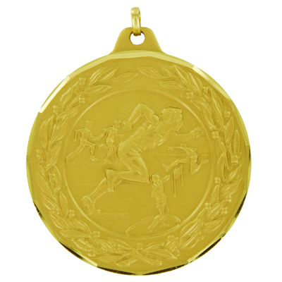 2 Inch Diamond Cut and Wreath Border Male Track and Field Competitor Medal