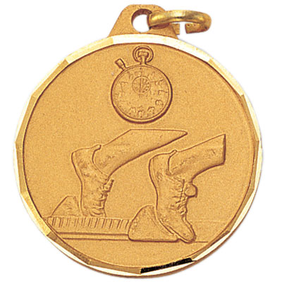 1-1/4 Inch Diamond Cut Border Track, Stopwatch, and Cleat Medal