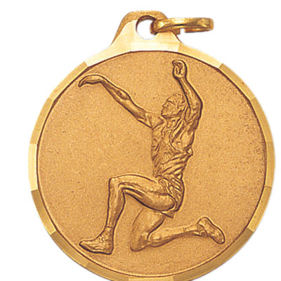 1-1/4 Inch Diamond Cut Border Male Track Long Jumper Medal