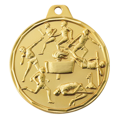 1-1/2 Inch Scalloped Border Male Track and Field Events Medal