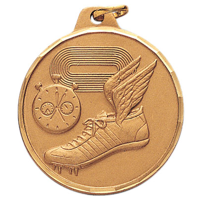 1-1/2 Inch Diamond Cut Border Track Field, Stopwatch, and Cleat Medal