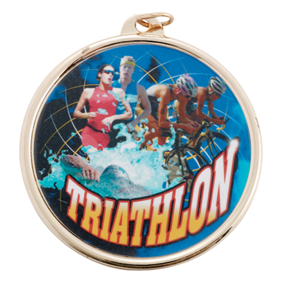 "2-1/4 Inch Medal Frame with 2 Inch ""Triathalon"" Mylar Insert Label"