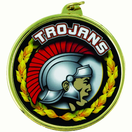 "2-1/4 Inch Medal Frame with 2 Inch ""Trojans"" Mascot Mylar Insert Label"