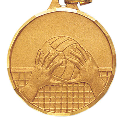 1-1/4 Inch Diamond Cut Border Volleyball, Net, and Hands Medal
