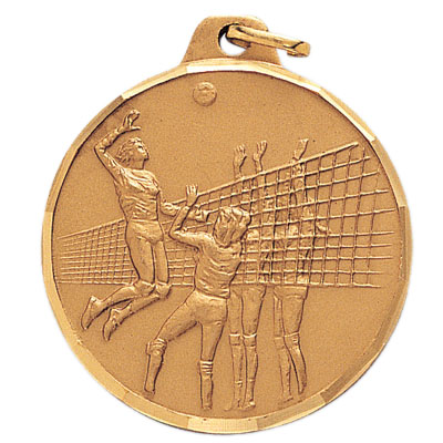 1-1/2 Inch Diamond Cut Border Female Volleyball Player Medal