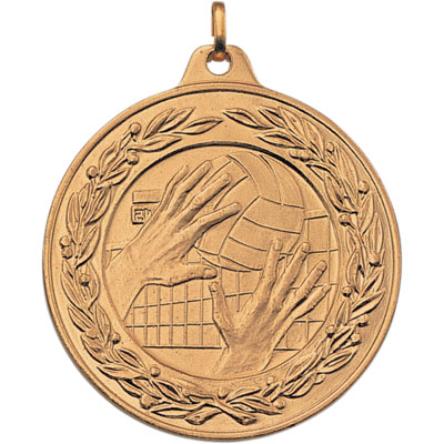 2 Inch Scalloped and Wreath Border Volleyball Tap Medal