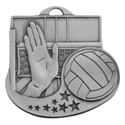2 Inch Antiqued Die-Casted Volleyball Medal