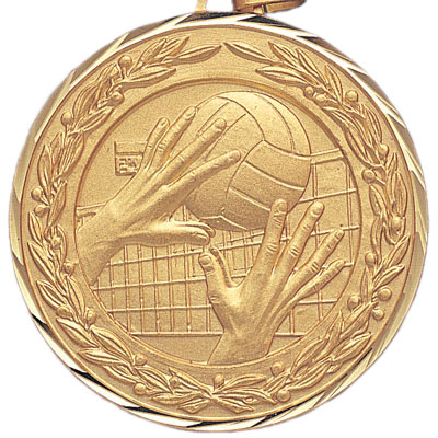 2 Inch Diamond Cut and Wreath Border Volleyball Tap and Return Medal