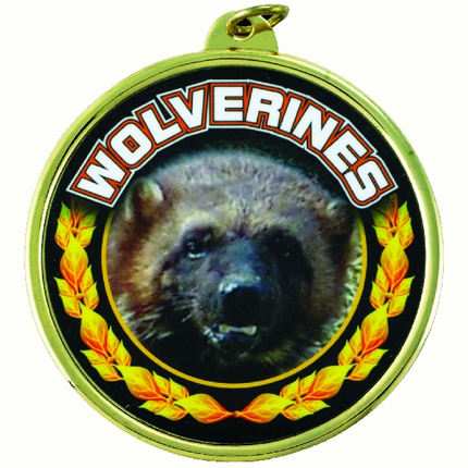 "2-1/4 Inch Medal Frame with 2 Inch ""Wolverines"" Mascot Mylar Insert Label"